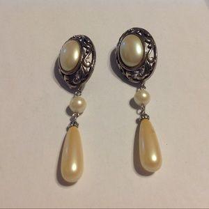 Richelieu Silver Tone Pearl Earrings